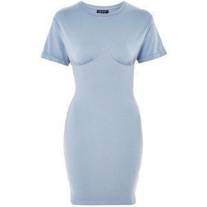 Topshop Pale Blue Fitted Ribbed Short Sleeve Dress